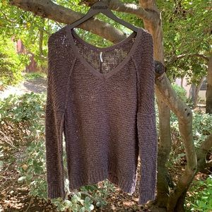 Free People Brown Cable Knit V Neck Sweater